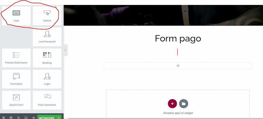 Widgets para Elementor del constructor de formularios de Piotnet Addons For Elementor (PAFE)
