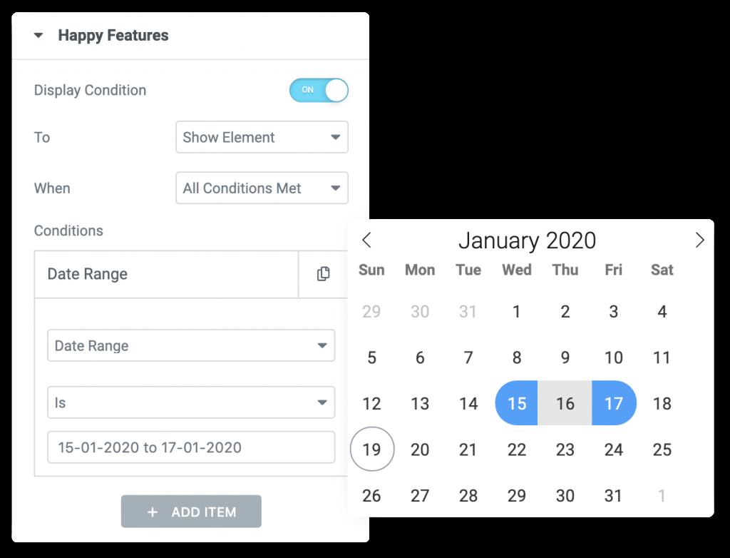 Rangos de fechas para ocultar contenido en Happy Addons